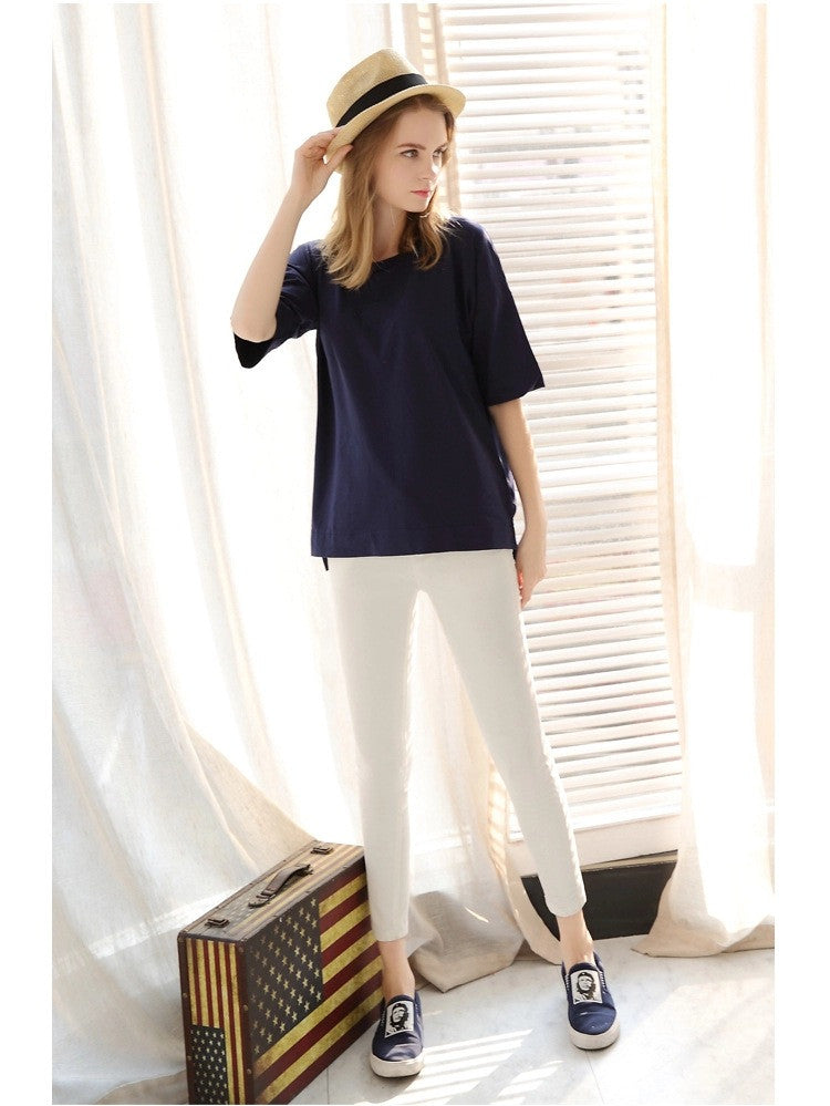 Scoop 1/2 Sleeve Pure Color Loose Plus Size T-shirt - Meet Yours Fashion - 5