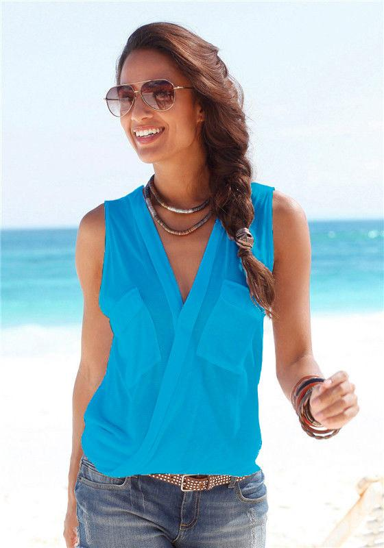Deep V-neck Sleeveless Strap Cross Sexy Blouse - Meet Yours Fashion - 8