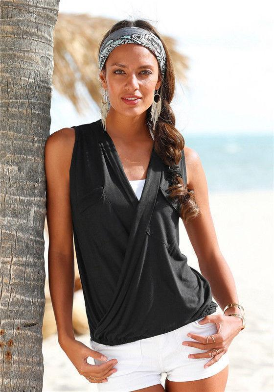 Deep V-neck Sleeveless Strap Cross Sexy Blouse - Meet Yours Fashion - 5