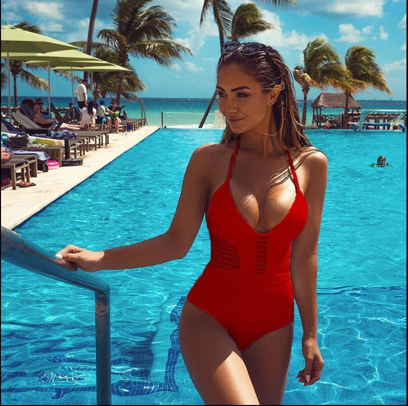 Halter Hollow Pure Color Sexy Monokini Swimwear - Meet Yours Fashion - 5