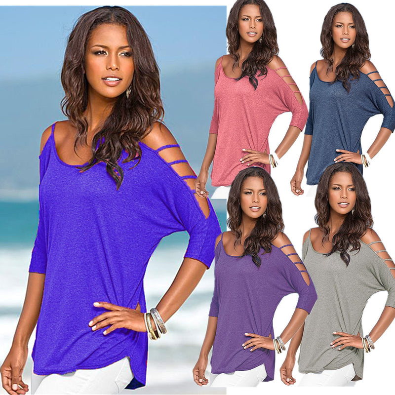 Hollow Out Scoop Pure Color 3/4 Sleeves T-shirt - Meet Yours Fashion - 1