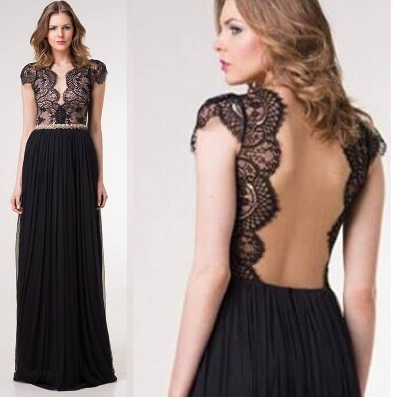 Pure Color Lace Deep V-neck Backless Long Dress - Meet Yours Fashion - 1