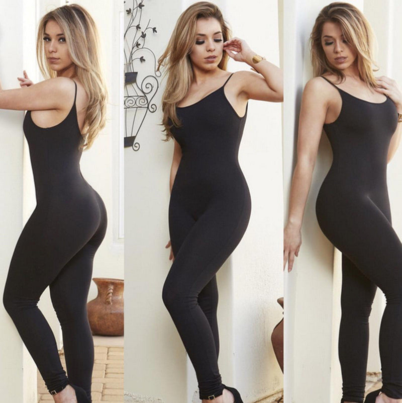Spaghetti Strap Pure Color Backless Long Slim Jumpsuit