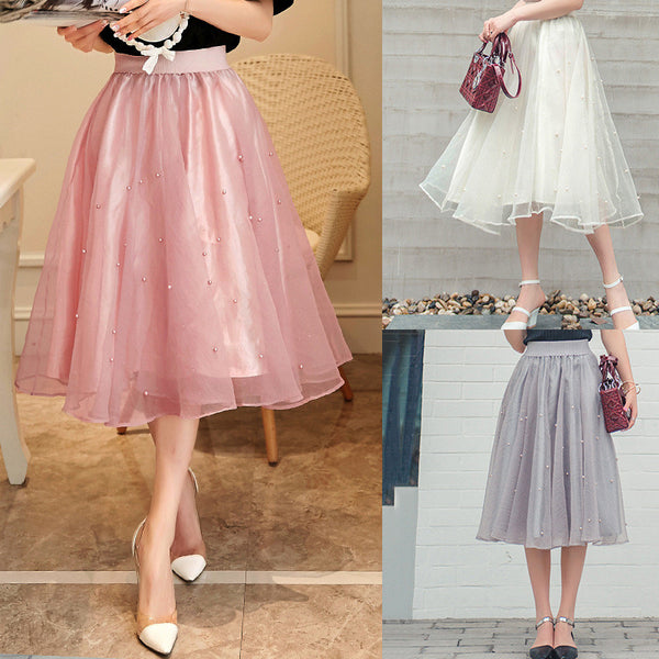 Charming High Waist Pure Color Beads Pleated Skirt