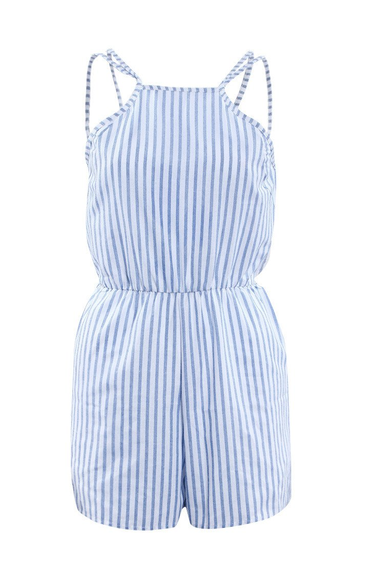 Spaghetti Strap Striped Sleeveless Backless Sexy Beach Jumpsuits - Meet Yours Fashion - 4