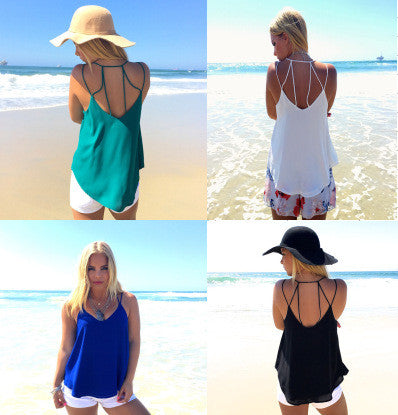 Spaghetti Strap Scoop Backless Pure Color Sexy Blouse - Meet Yours Fashion - 2