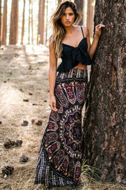 Retro Bohemia Print High Waist Slim Long Skirt
