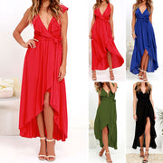 Chiffon Deep V-neck Sleeveless Irregular Long Dress - Meet Yours Fashion - 2