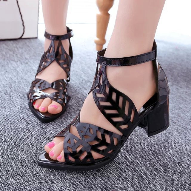 Hollow Out Chunky Heel Peep Toe Sandals