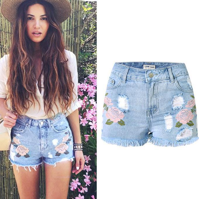 Slim High Waist Rough Edges Tassel 3D Embroidery Plus Size Shorts - Meet Yours Fashion - 1