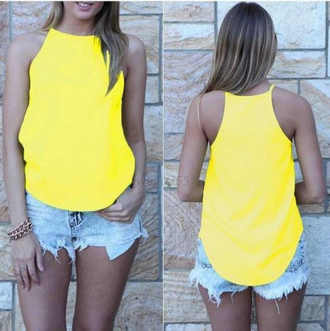 Spaghetti Strap Sleeveless Pure Color Slim Vest - Meet Yours Fashion - 5