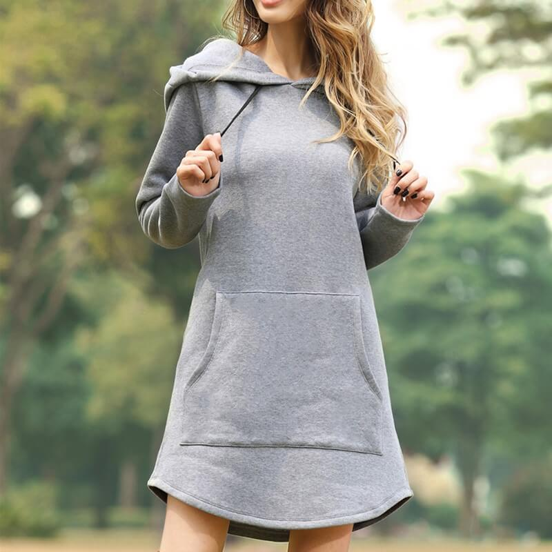 Casual Pullover Drawstring Loose Dress Hoodies