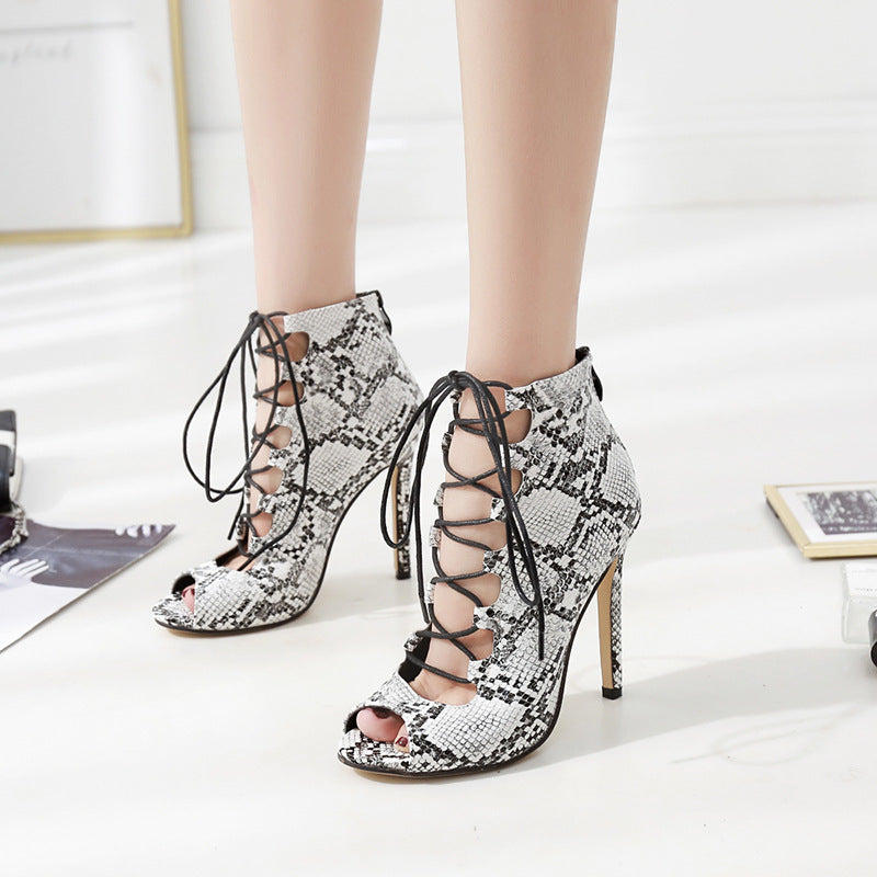 Snake Skin Pattern Peep Toe Lace Up Stiletto High Heels Sandals