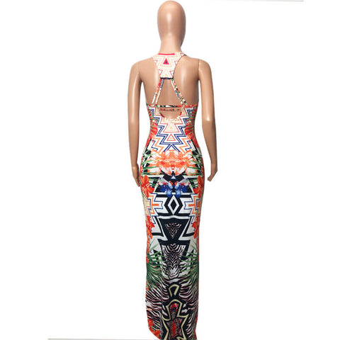 Fashion Sexy Backless Printing Dress