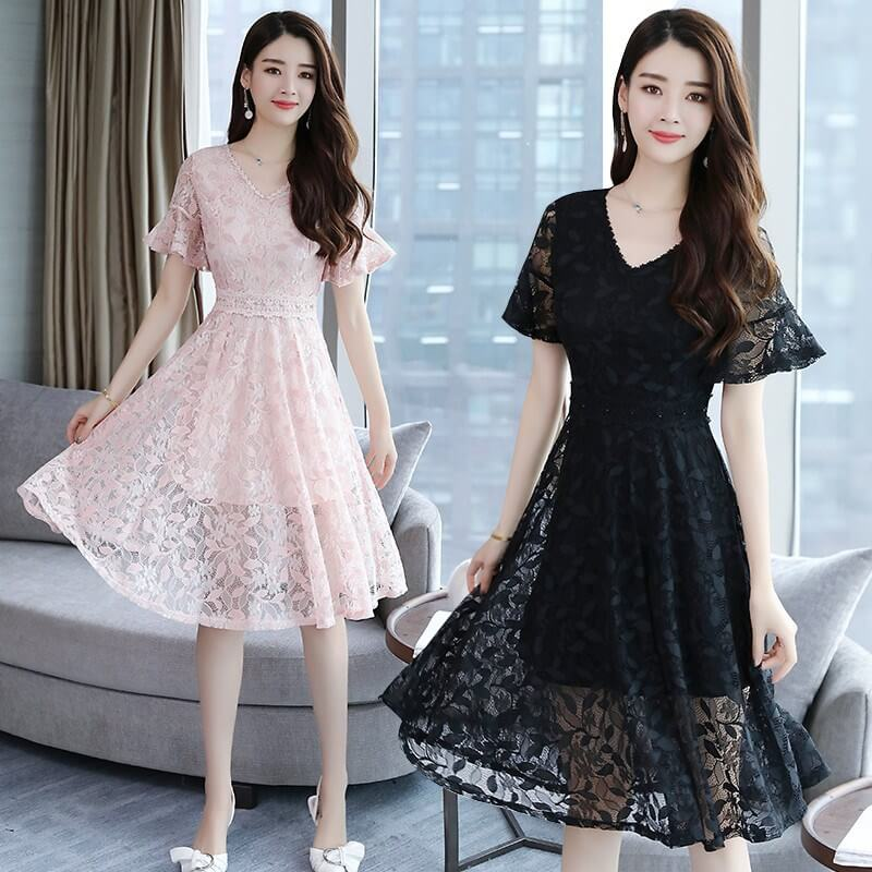 V-neck Short Sleeves Knee-length Lace Sexy Dress