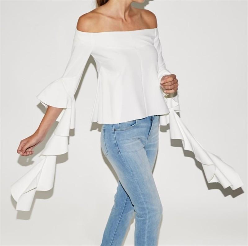 Off-shoulder Spiral 3/4 Sleeves Pure Color Blouse