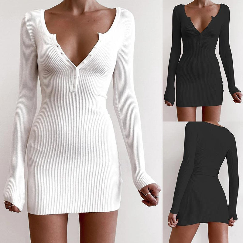 Deep V Neck Long Sleeve Sweater Bodycon Dress