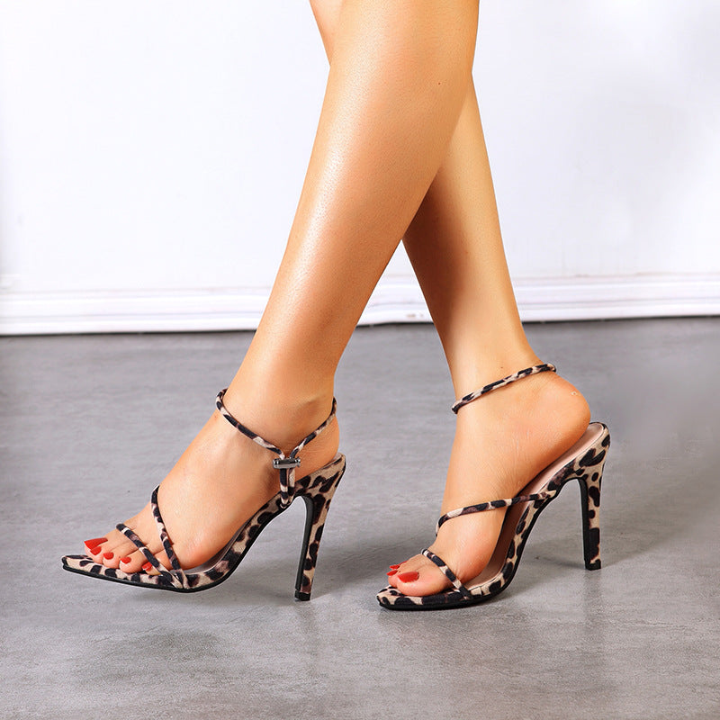 Leopard print high heel Sandals