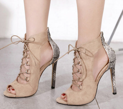 Patchwork Serpentine Stiletto High Heel Peep-toe Lace-up Sandals