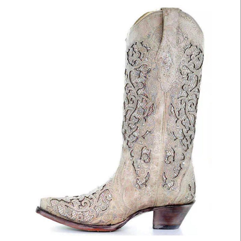 Pointed Toe Slip-On Plain Chunky Heel Western Embroidery Boots