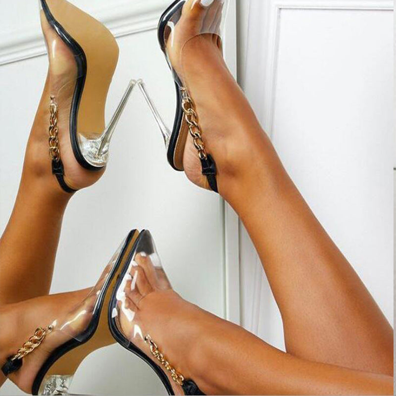 Metal Chain Transparent High Heels Pointed Stiletto Sandals