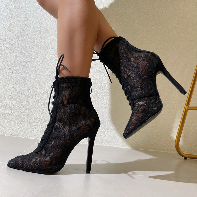 Lace up gauze high heeled boots