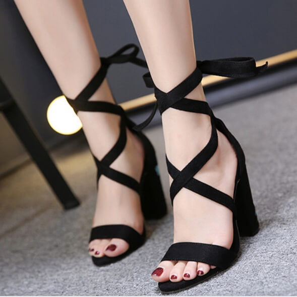 Rivets Open Toe Straps Ankle Wrap High Chunky Heel Sandals