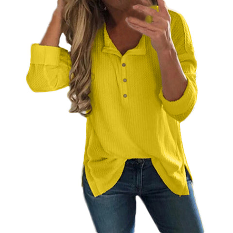 Loose V-neck Pure Color Long Sleeves Buttons T-shirt