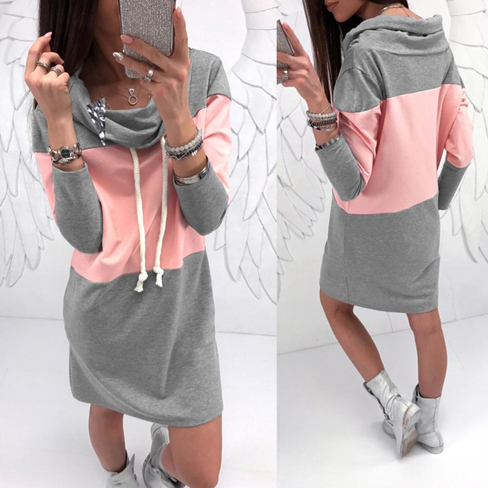 High Collar Grey Powder Matching Sweater Dress