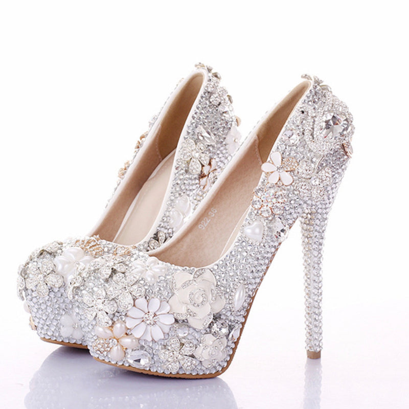 Color Diamond Round Head High Heel Wedding Shoes