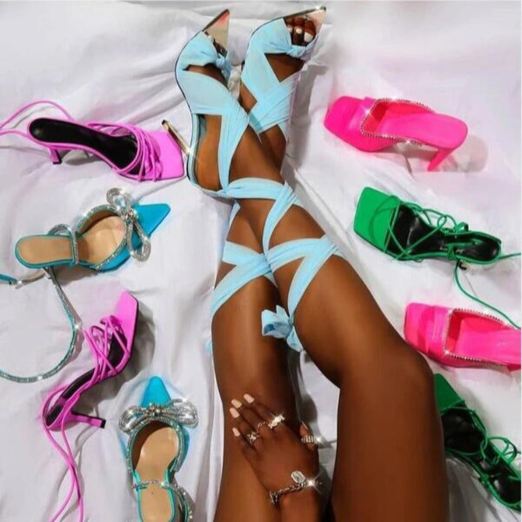 Cross thin high heel sexy fish mouth Satin women's sandals