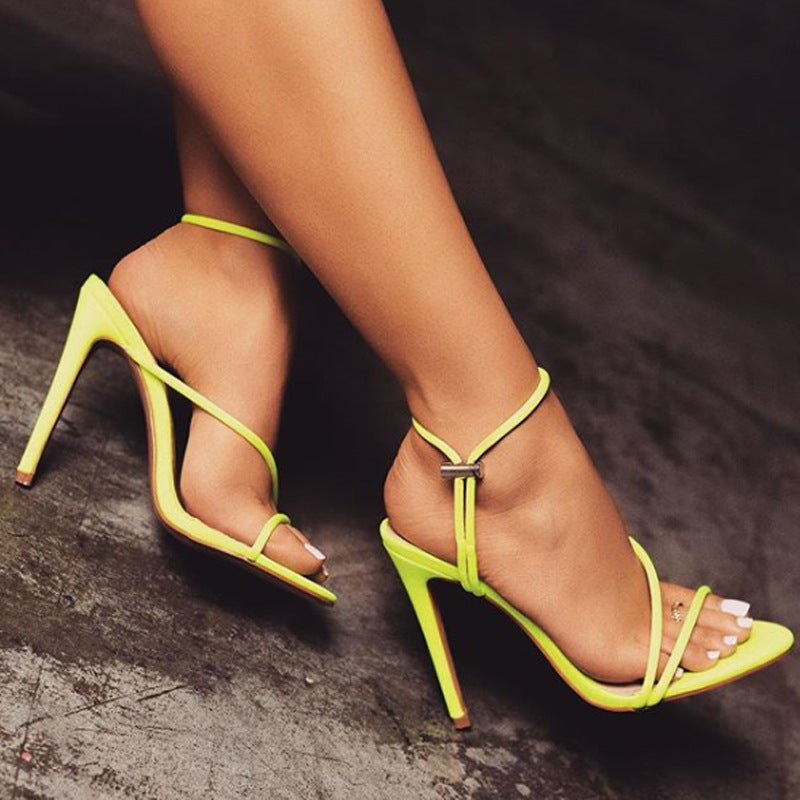 Fluorescent Pointed Stiletto Sandals