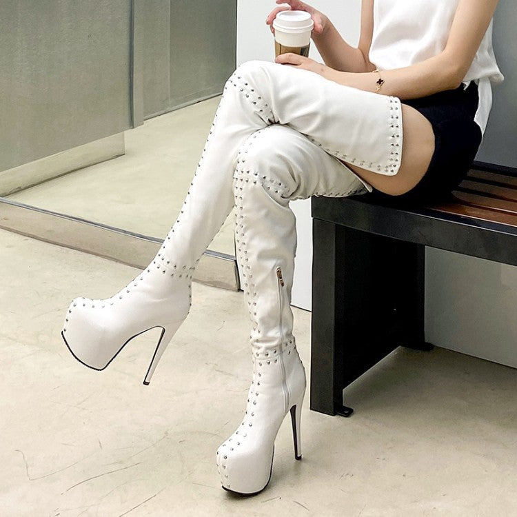 Rivet Thigh Boots