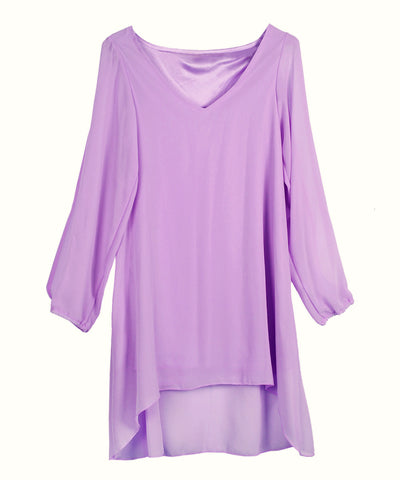 V-neck Bear Shoulder Loose Chiffon Short Dress