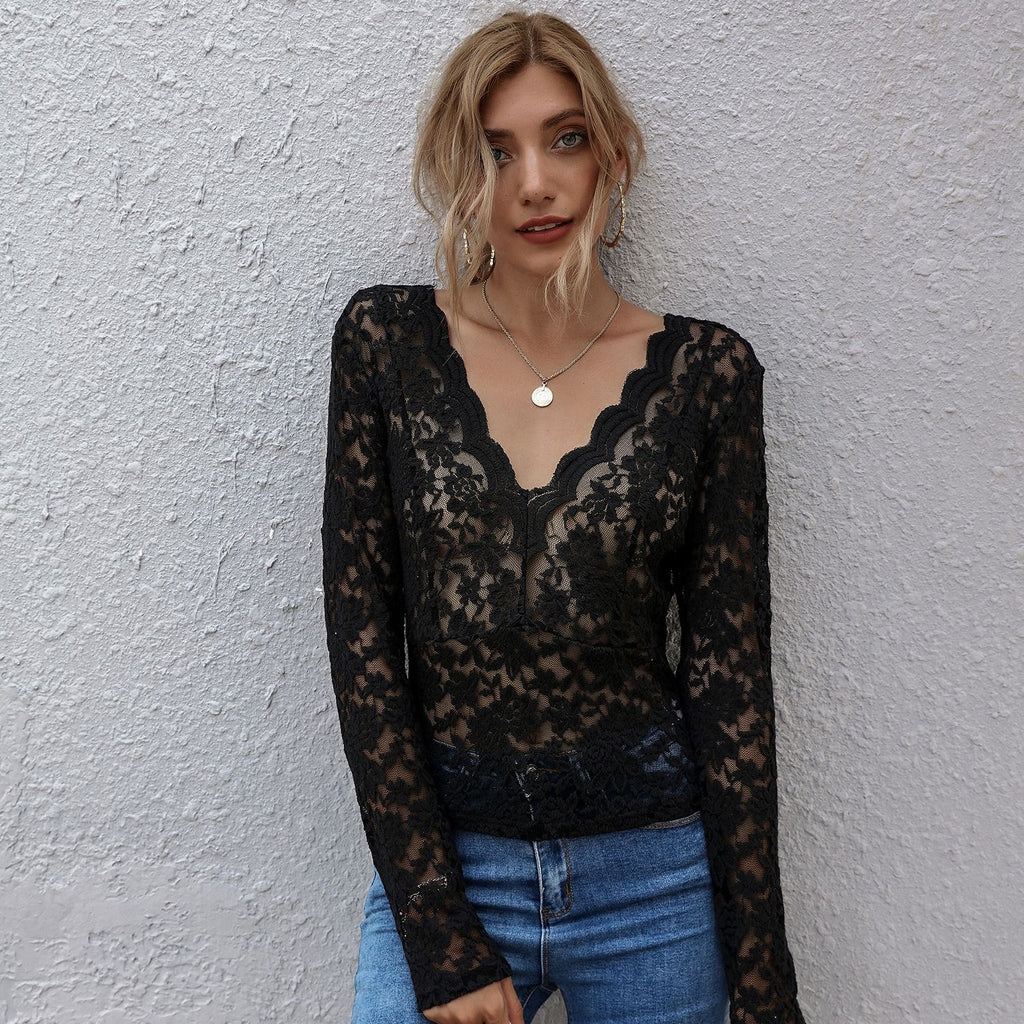V-neck Lace Long Sleeve T-Shirt