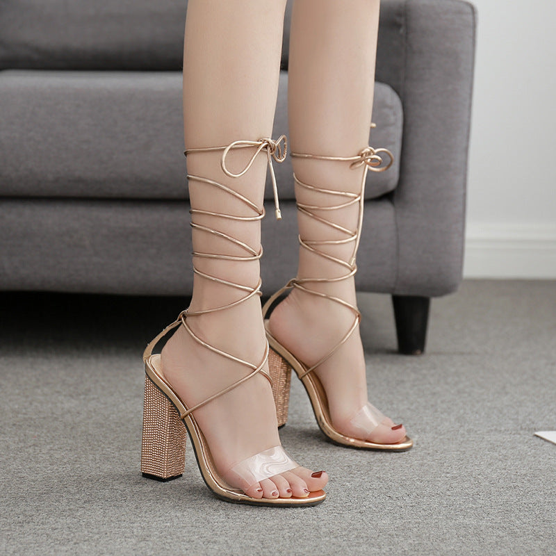 Rhinestone solid thick heel Roman cross strapping Sandals