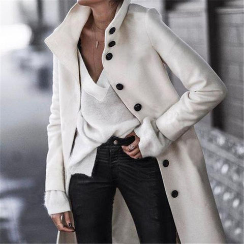 White /Black Double Breasted Over Coat