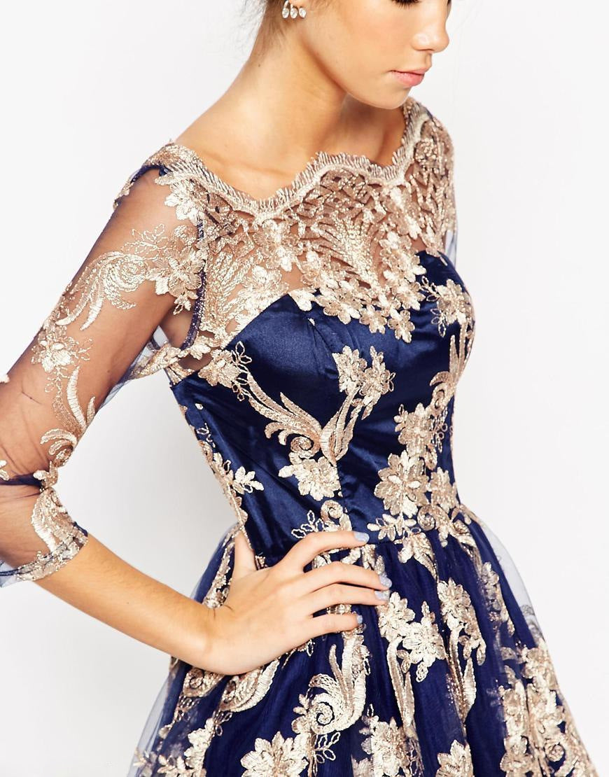 3/4 Sleeve Off Shoulder Retro Embroidery Knee-length Lace Party Dress
