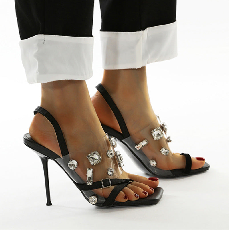 Transparent diamond thin high heel sandals