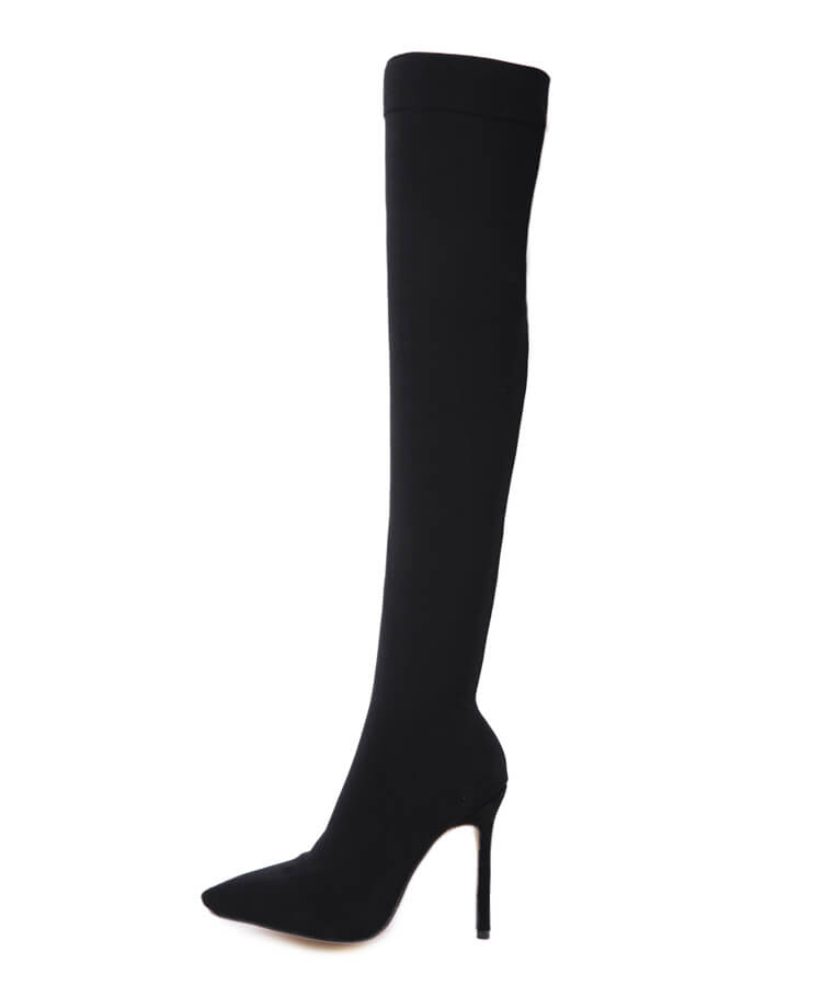 Suede Pointed Toe Stiletto High Heels Over the Knee Boots