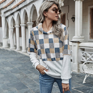 Plaid hooded long sleeve loose Plush sweater
