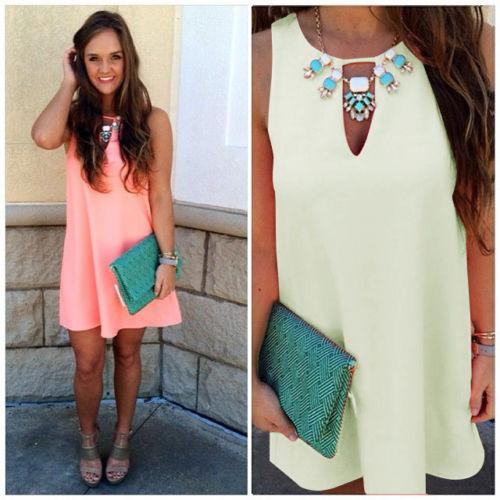 Candy Color Loose Sleeveless Chiffon Short Dress