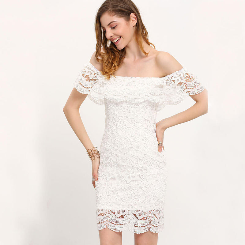 Off Shoulder Pure Color Short Sleeves Short Lace Dress