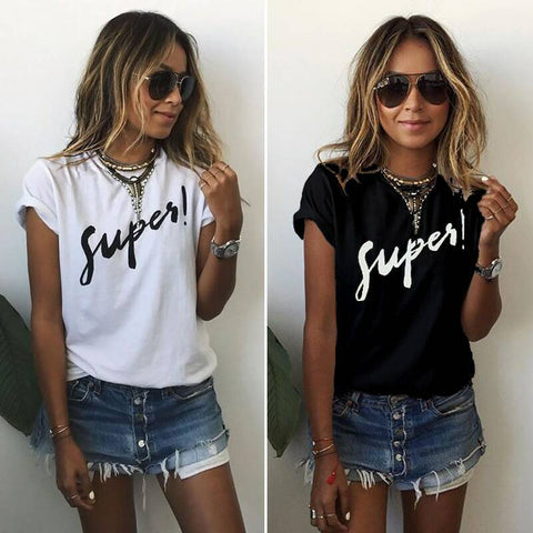Letter Short Sleeves Scoop Casual Brief T-shirt