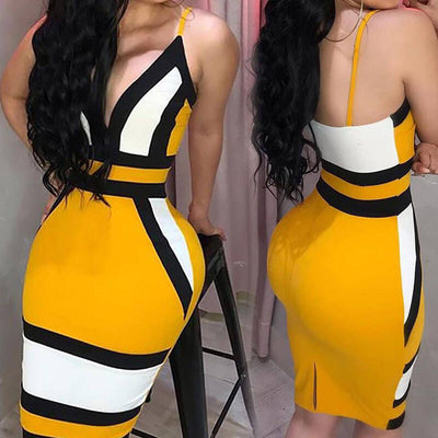 Stripe Deep V neck Backless Spaghetti Straps Sleeveless Short Dress