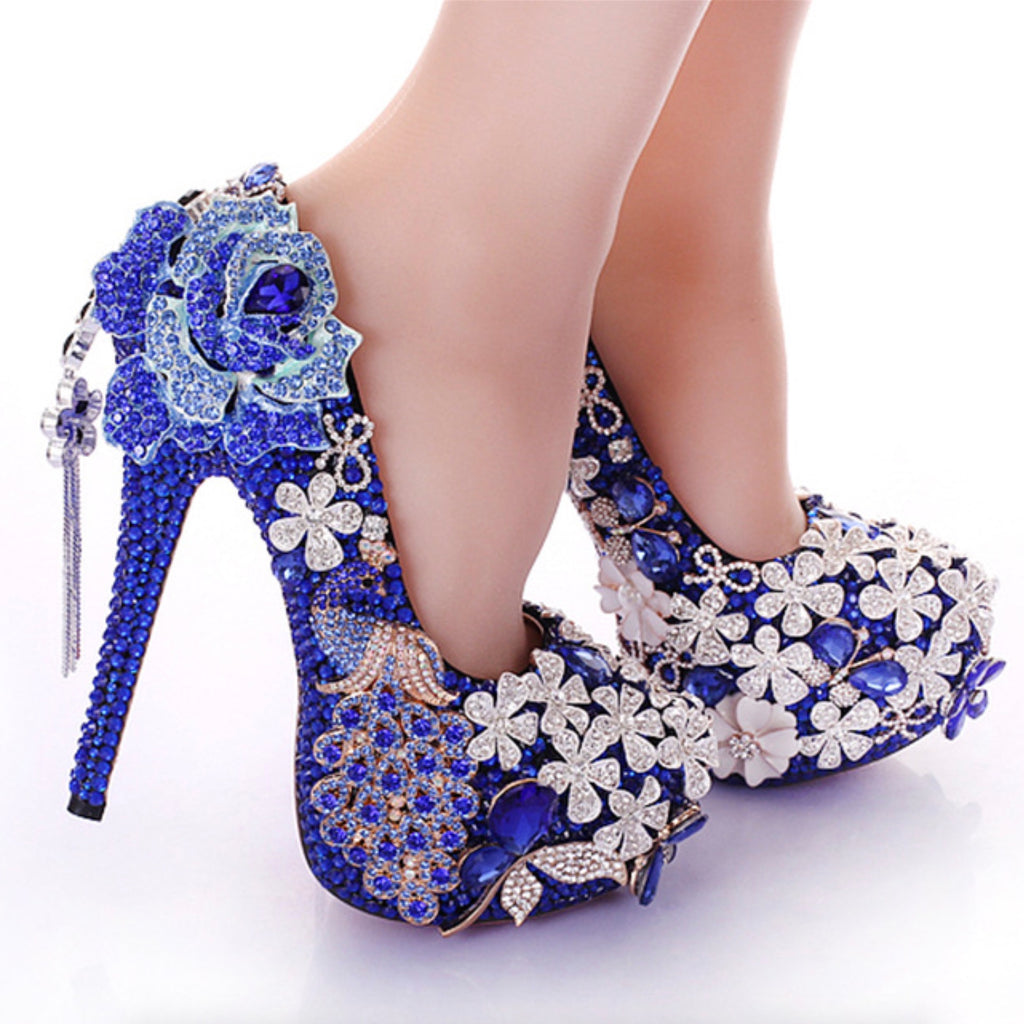 Blue Pearl Diamond Waterproof Platform Wedding Shoes