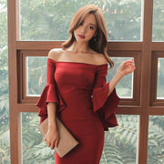 Off Shoulder  Long Sleeves Pour Color Short Backless Sexy Lotus Sleeves