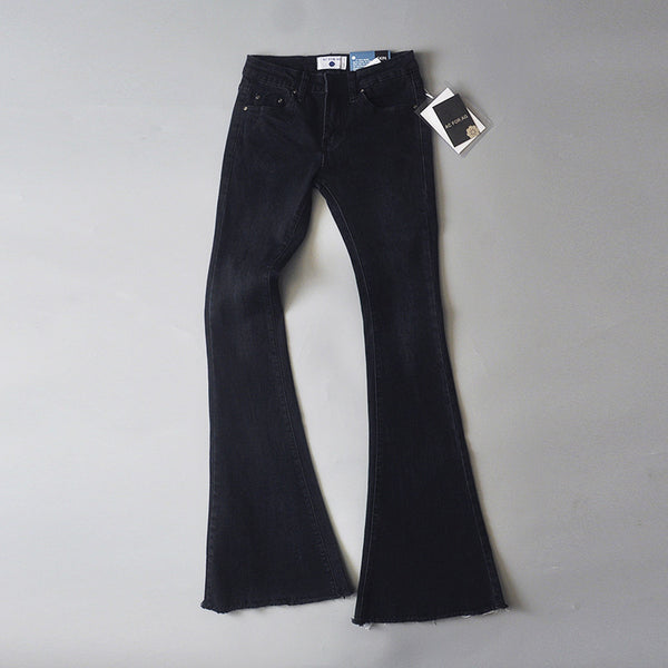 Solid Color Bell-bottomed Middle Waist Long Pants Jeans
