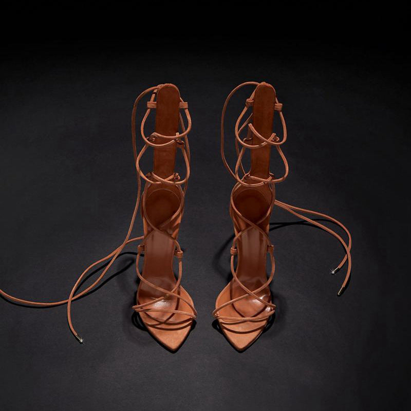 Pointed Roman Strapping Boots Woman Party Sandals