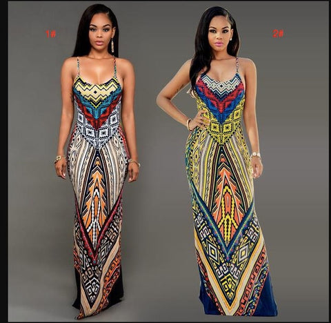 Sexy Spaghetti Strap Print Bodycon Long Dress